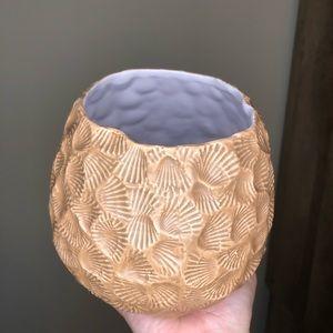 Anthropologie Tan Seashell Vase/Pot
